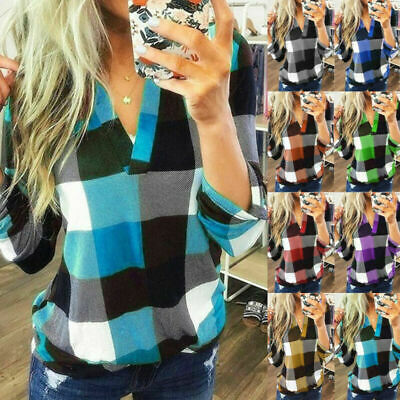 UK Womens Long Sleeve Plaid Checked T Shirt Ladies V Neck Tops Blouse Plus Size
