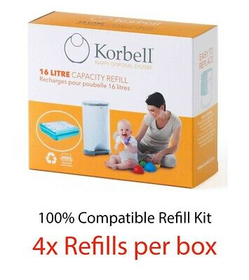 Korbell Nappy Disposal Refills 4 or 8 refills for 16L bin - 100% Compatible Kit