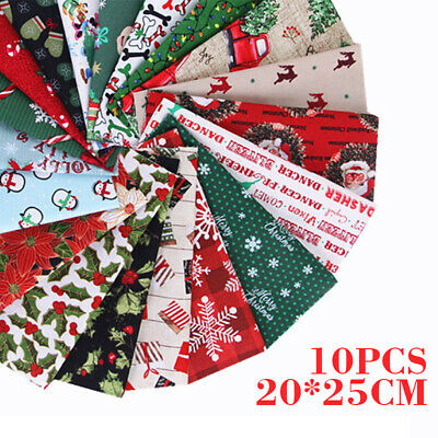 10X Christmas Assorted Floral Cotton Fabric Sewing Quilting Patchwork 20x25cm