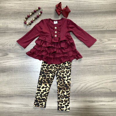 Autumn Toddler Baby Girl Clothes Ruffle Tops Dress+Leopard Leggings Pants Outfit