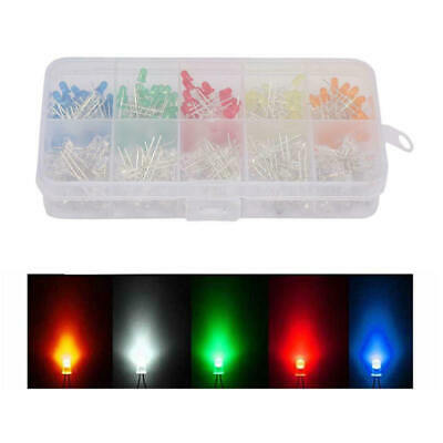300x 10 value Five Colors 3mm Round Bright Light LED Diode Lamp Assortment kit e