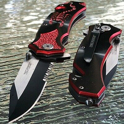 """8"""" Tac Force Spring Assisted Tactical Red Scorpion Outdoor Folding Pocket Knife"""