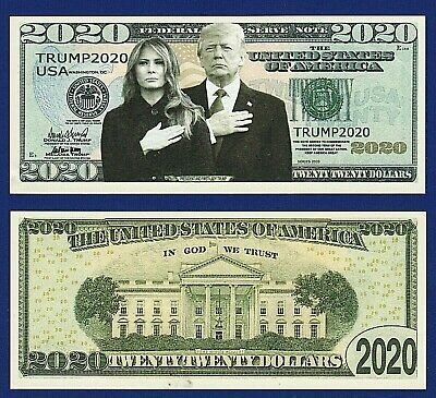 (1)  Donald & Melania Trump 2020 Re-Election Presidential Dollar Bill -Y