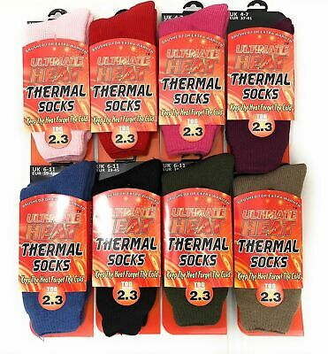 6 Pairs Men's Or Ladies Thermal Winter Warm Hot Heat Socks Chunky Thick 2.3 Tog