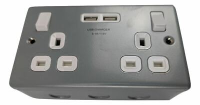 Double Switched Power Socket , USB 3.1A Charger Sockets Metal Clad for Workshop
