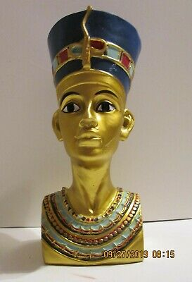 """Ancient Egyptian Queen Nefertiti Head and Bust Statue - 8"""" Tall"""