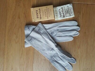 Vintage  DENTS suede leather ivory Ladies Gloves - size 7, original glove wash