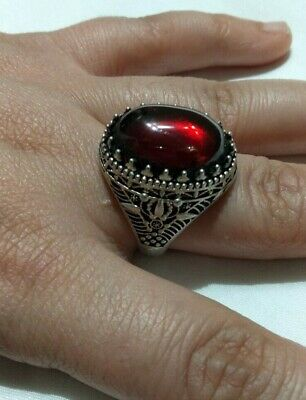 Ancient Antique Victorian Silver Ring Red Royal  Agate Stone Rare Vintage Old