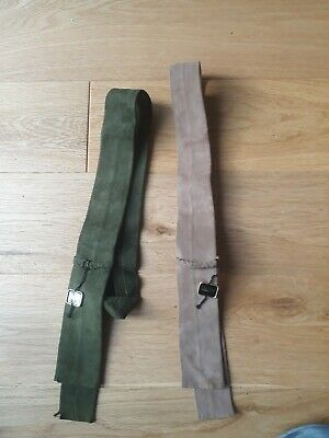 2 DENTS Mens Vintage Skinny Brown / Green Suede, Flat Fringed End Neck Tie  BNWT