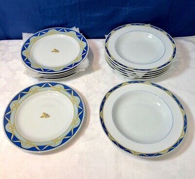 Bernardaud Limoges Porcelain Urbini 6 Soup plate + 6 dessert plate NEW IN BOX