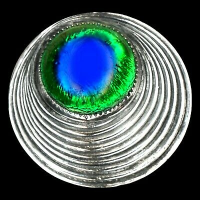 Button--Art Deco Era Silver-plated Peacock Eye Jewel--Medium