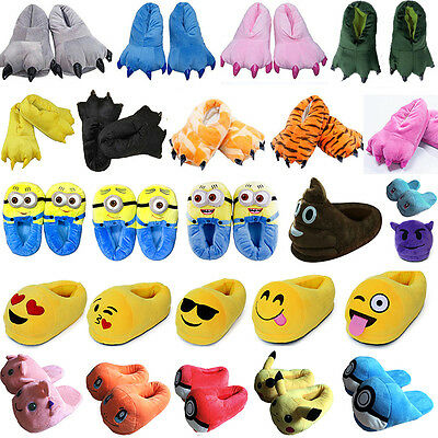 Adults Kids Winter Warm Slippers Soft Shoes Cartoon Indoor Home Flat Sandals New