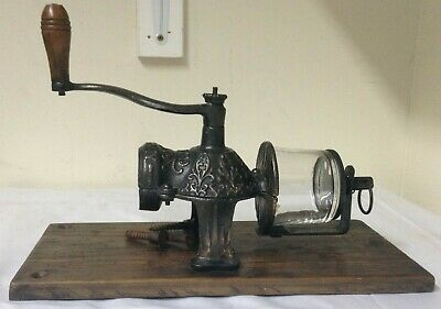 Vintage Antique Arcade Crystal Wall Mount Coffee Mill Grinder