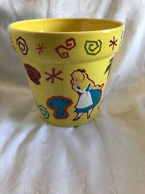 disney parks alice in wonderland garden flower pot medium new yellow cheshire