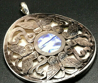 Vintage Sterling Silver 925 Signed Sajen Carved Abalone Butterfly Round Pendant