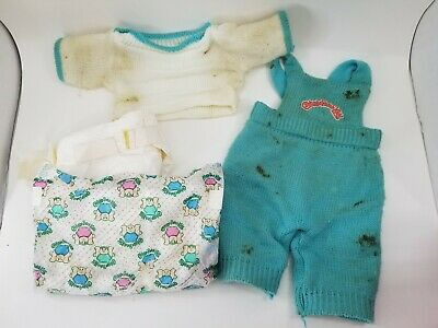 Vintage 1980s 4pc Cabbage Patch Doll Accessories Woven clothes 2 Diapers Lot Set