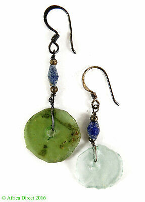 Ancient Roman Glass Earrings Beads Green Bowl Fragments Afghanistan SALE WAS $24