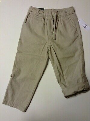 Baby Gap Toddler Boy's Linen Pull-on Trousers - Age 3, 4 Years - BEIGE - NEW