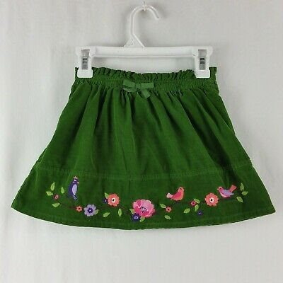 Gymboree Girls Skirt Pull On Embroidered Birds Floral Size 4 Green Bow Accent