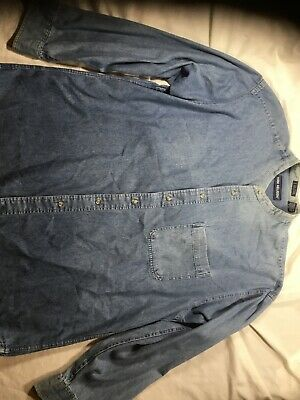 Men's Van Heusen Shirt. Vintage Band Collar Denim Men's Size Lg