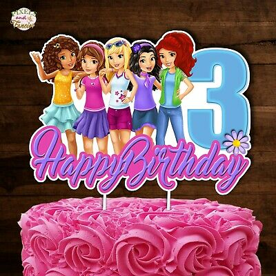 Astonishing Lego Friends Cake Topper Personalised Round Edible Cake Or Cupcake Personalised Birthday Cards Paralily Jamesorg
