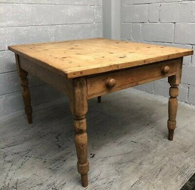 Stunning Antique Victorian Farmhouse Dining Table Double Drawers