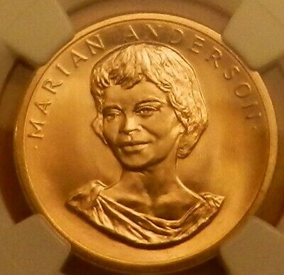 1980 MARIAN ANDERSON 1/2 Oz. COMMEMORATIVE GOLD MEDAL AMERICAN ARTS NGC MS66