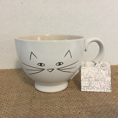 10 Strawberry Street Large White Silver Cat Face Coffee Mug Tea Cup NWT