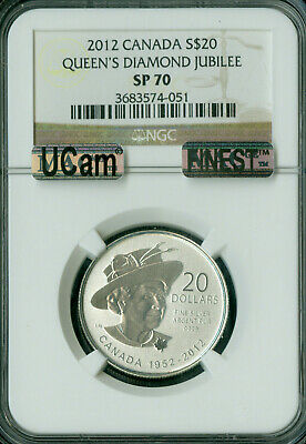 2012 Canada Silver $20 Queen's Diamond Jubilee Ngc Sp70 Ucam Mac Finest Spotless