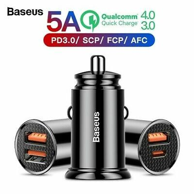Baseus 30W Fast Car Charger Dual USB Type C PD QC4.0 QC3.0 Quick Charge
