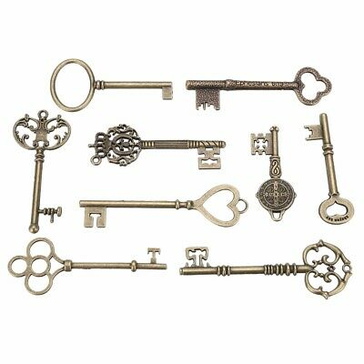 9PCS BIG Large Antique Vtg Old Brass Skeleton Keys Lot Cabinet Decor Lock