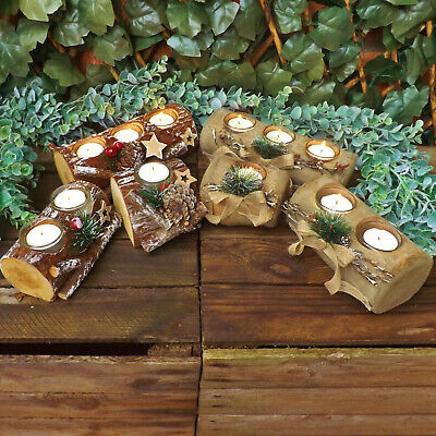 Christmas Rustic Natural Wood Log Tea Light Votive Candle Holders Winter Wedding