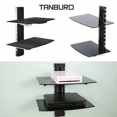Floating 2 Tier Shelves Glass Wall Mount Bracket For TV DVD Skybox PS4 Console