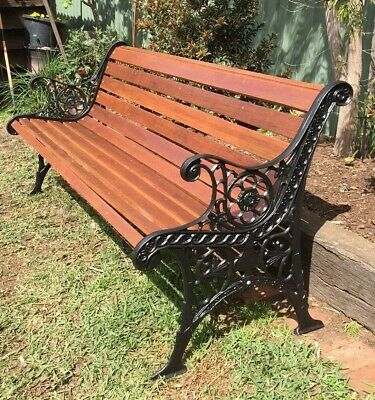 Cast Iron Outdoor Garden Bench Seat Park Antique Vintage