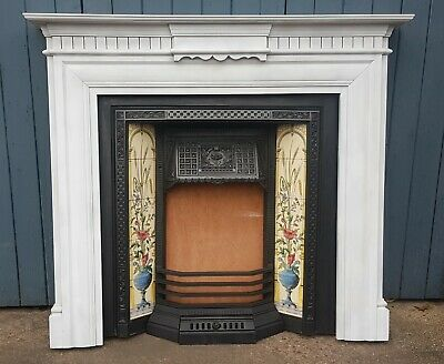 Reclaimed Stovax Cast Iron Tiled Inset & Arts and Crafts Style White Wood Mantle