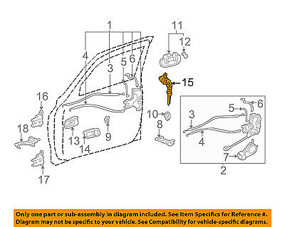 For Toyota Tundra 2000-2006 Front Left or Right Door Cable Assembly Genuine