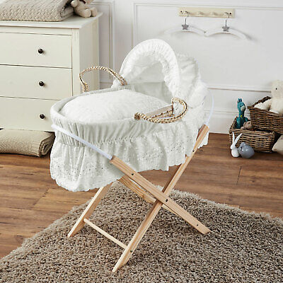Broderie Anglaise Palm Baby Moses Basket And Folding Stand- Cream