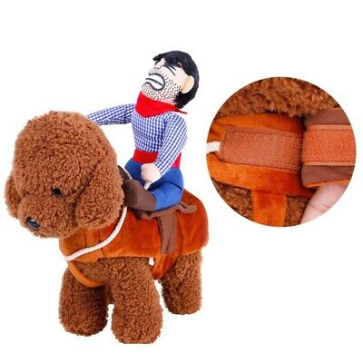Pets Dog Cat Fake Rider Cowboy Costumes Puppy Outdoor Funny Riding Vest Clothing