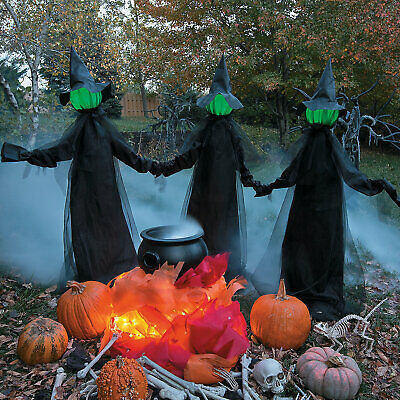 Outdoor Halloween Prop Lighted Witches Yard Decoration Scary Witch Garden Stakes