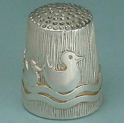 Vintage Sterling Silver Mother & Baby Ducks Thimble * English * Hallmarked 1990