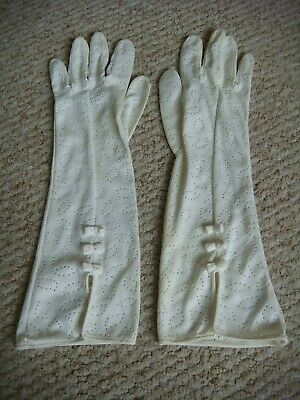 "Vintage 1960's ""Maggie Rouff Paris ""White Long Gloves with Pretty Bows Size 7.5"