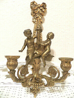 Brass Cherubs Wall Mount Hanging Sconce Two Arm Candelabra Taper Candle Holder
