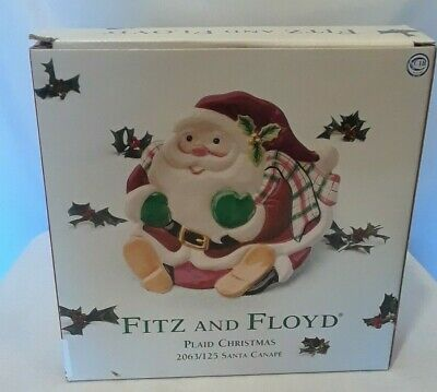 Fitz Floyd Santa Clause Christmas Holiday China Serving Canape Cookie Plate Dish