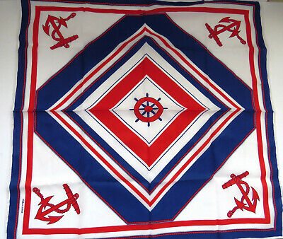 Nautical Scarf by Eileen Wood - Red White Blue Anchors Ships Wheel Vintage