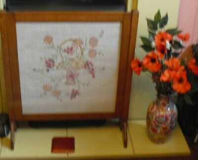 COUNTRY HOUSE SALE antique sampler wooden fire screen embroidered vintage