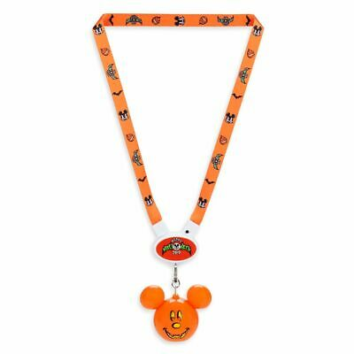 Disney Parks Halloween 2019 Light Up Mickey Mouse Pumpkin Glow Lanyard New