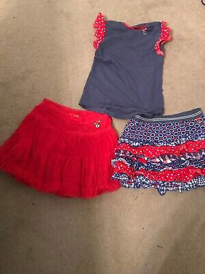 GIRLS RED 2 X SKIRT FROM MIM-PI And Top 122 pre owned/116 Age 5-7