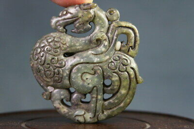 Collectable Handmade Old Jade Carving Ancient Mythical Dragon Auspicious Pendant
