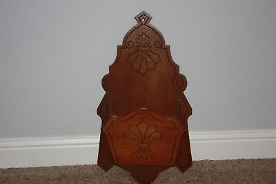 Vintage Victorian Walnut Magazine Rack Holder Wall Pocket 26 X 14