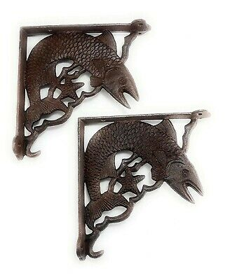 Set of 2 Swimming Fish Shelf Bracket, Heavy Cast Iron Wall Mount, Accented with